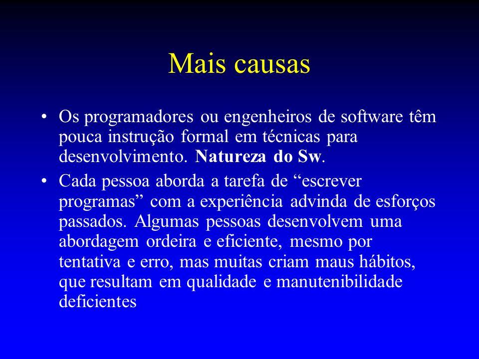Mais causasOs programadores ou engenheiros de software têm pouca instrução formal em técnicas para desenvolvimento. Natureza do Sw.