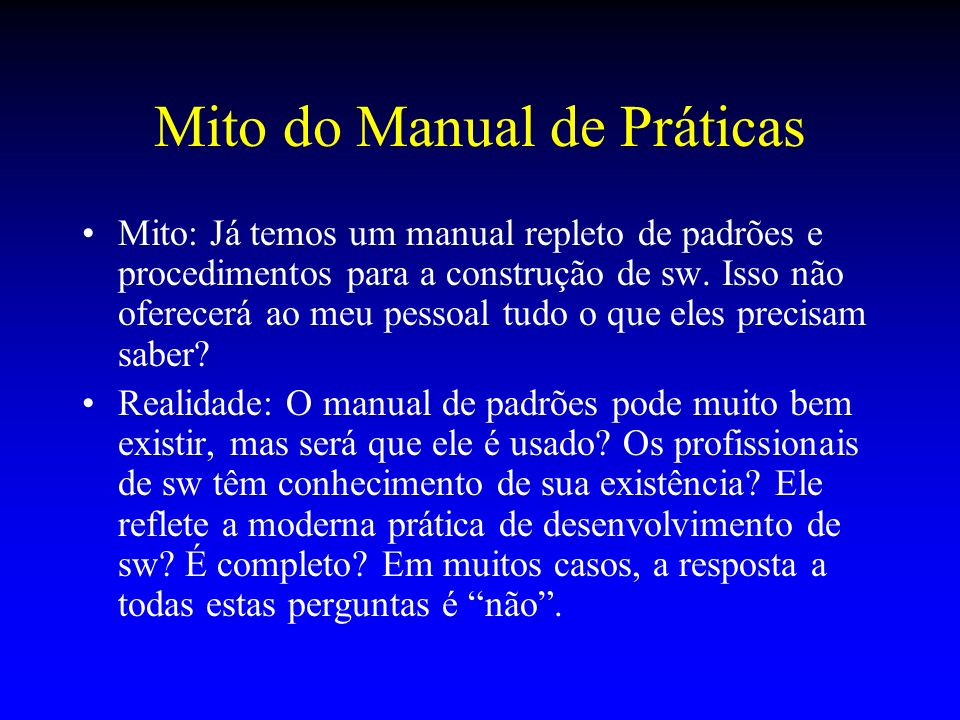 Mito do Manual de Práticas