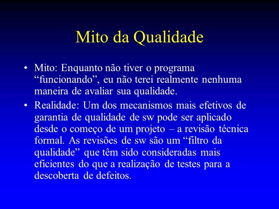 Mito da Qualidade Mito: Enquanto não tiver o programa funcionando , eu não terei realmente nenhuma maneira de avaliar sua qualidade.