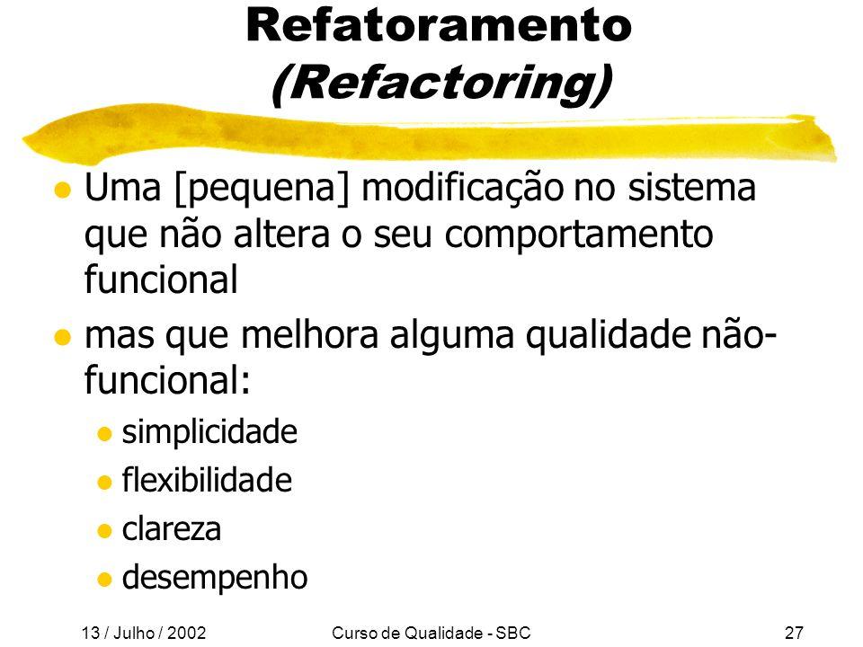 Refatoramento (Refactoring)
