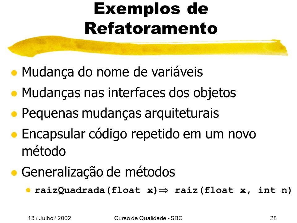 Exemplos de Refatoramento