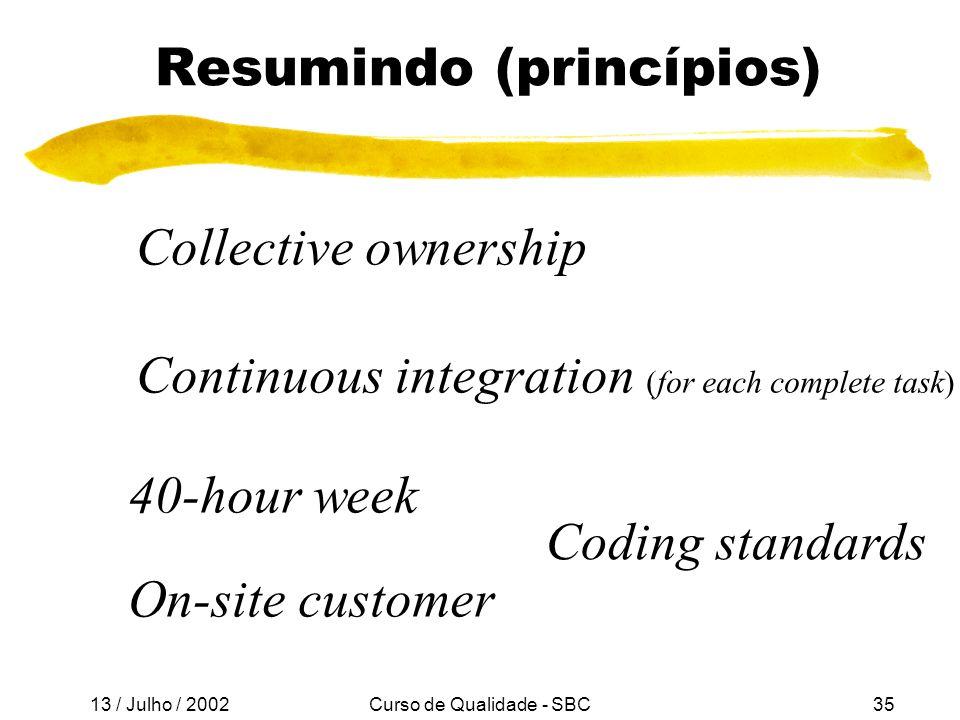 Resumindo (princípios)