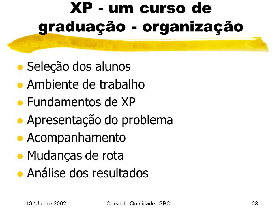 XP - um curso de graduação - organização
