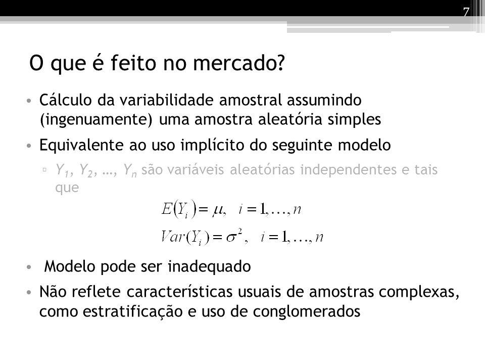 O que é feito no mercado Cálculo da variabilidade amostral assumindo (ingenuamente) uma amostra aleatória simples.