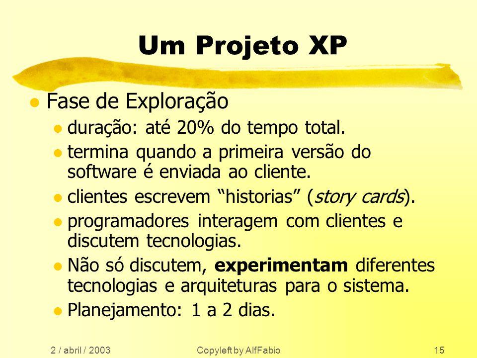 Um Projeto XP Fase de Exploração duração: até 20% do tempo total.