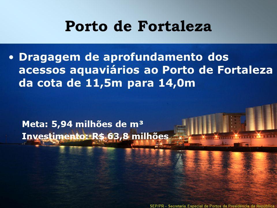 Porto de Fortaleza Dragagem de aprofundamento dos acessos aquaviários ao Porto de Fortaleza da cota de 11,5m para 14,0m.