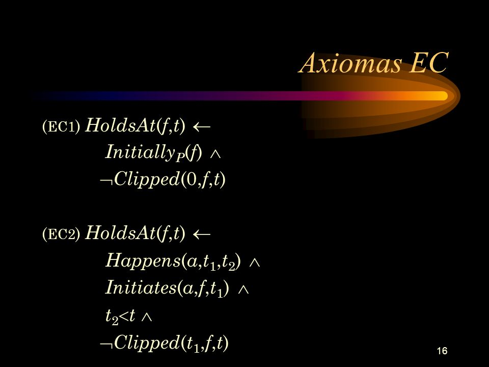 Axiomas EC InitiallyP(f)  Clipped(0,f,t) Happens(a,t1,t2) 