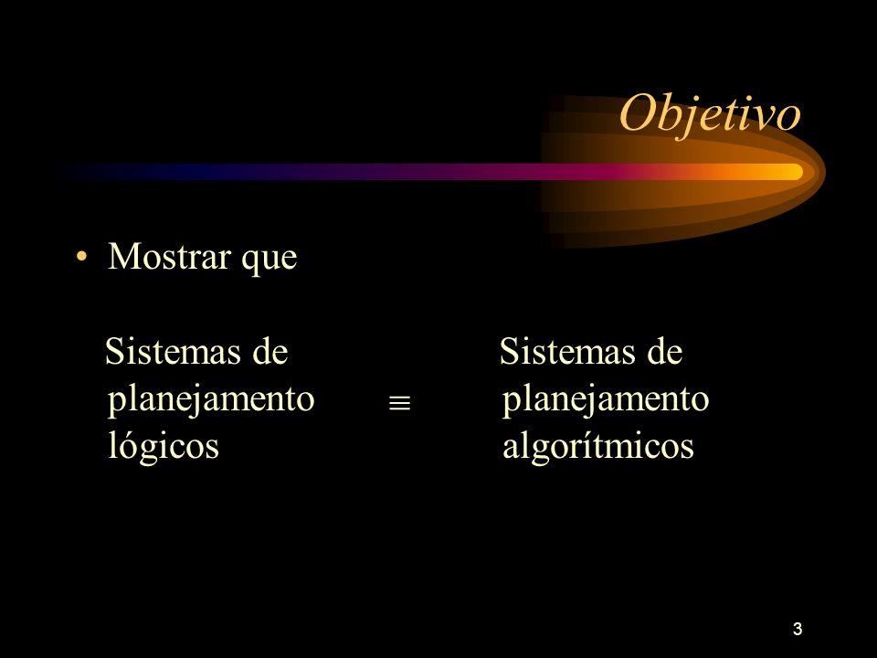 Objetivo Mostrar que Sistemas de planejamento lógicos