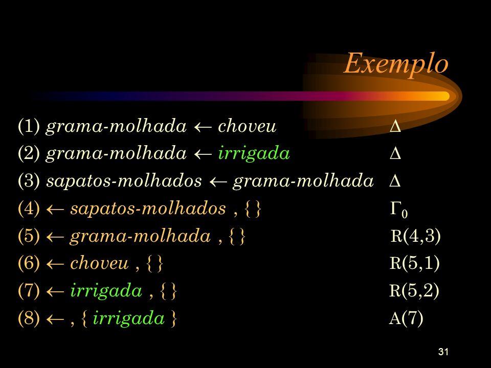 Exemplo (1) grama-molhada  choveu  (2) grama-molhada  irrigada 