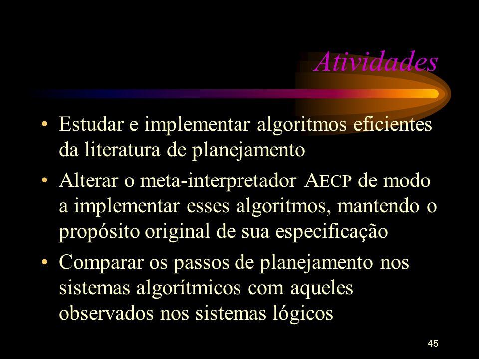 Atividades Estudar e implementar algoritmos eficientes da literatura de planejamento.