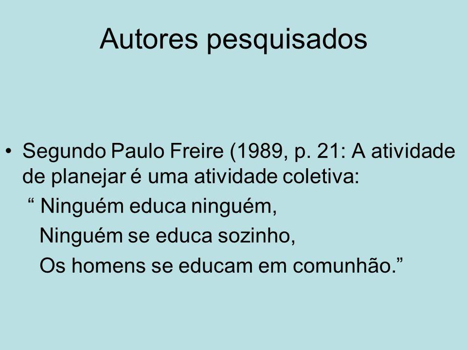 Autores pesquisados Segundo Paulo Freire (1989, p. 21: A atividade de planejar é uma atividade coletiva: