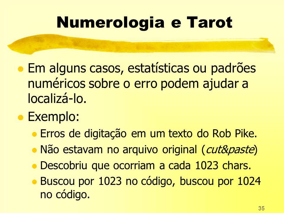 Numerologia e Tarot Em alguns casos, estatísticas ou padrões numéricos sobre o erro podem ajudar a localizá-lo.