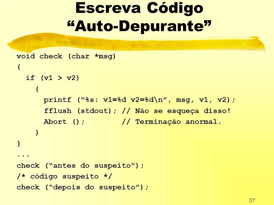 Escreva Código Auto-Depurante