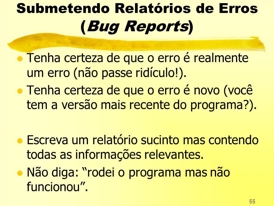 Submetendo Relatórios de Erros (Bug Reports)