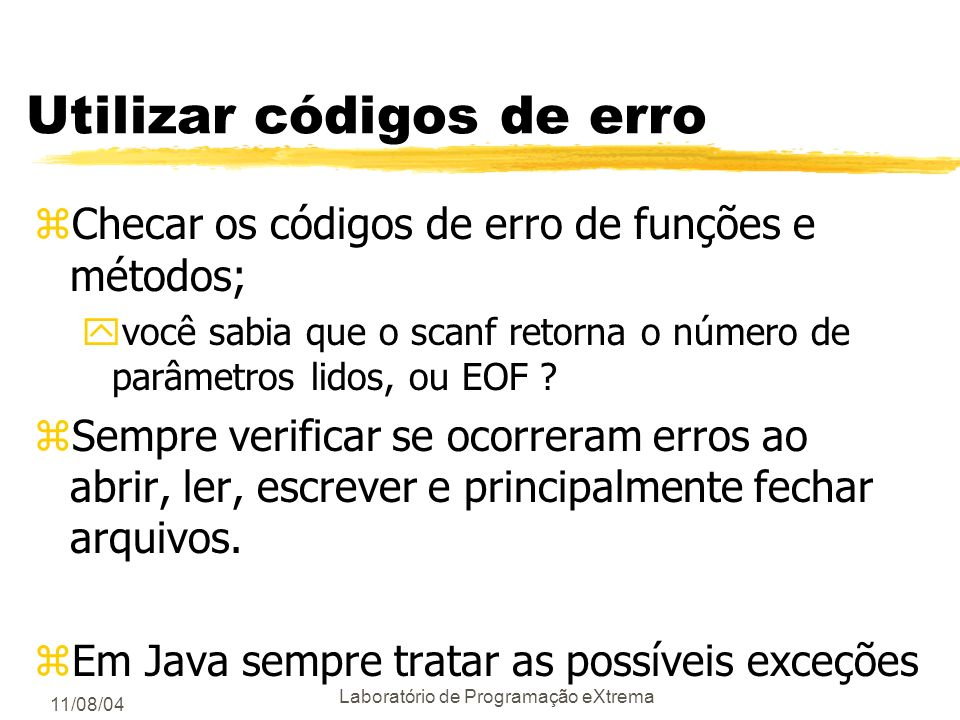 Utilizar códigos de erro