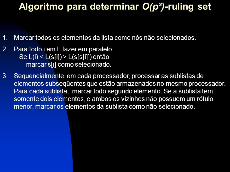 Algoritmo para determinar O(p²)-ruling set