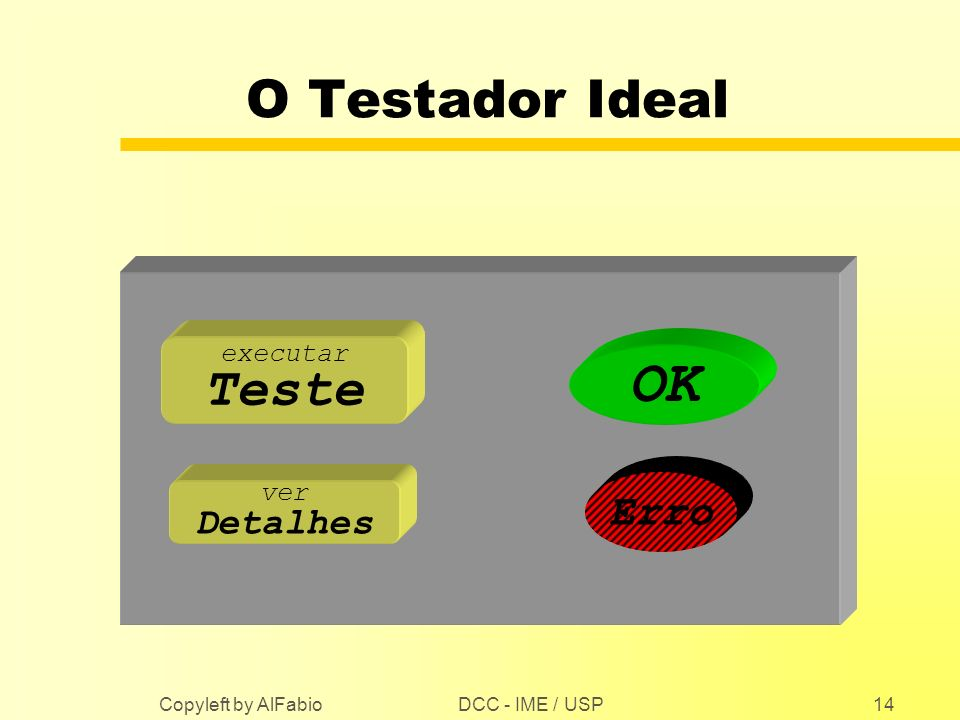 OK O Testador Ideal Teste Erro Detalhes executar ver