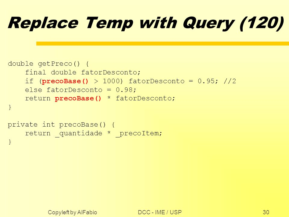 Replace Temp with Query (120)