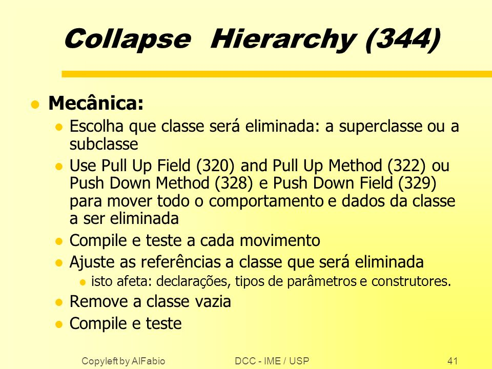 Collapse Hierarchy (344) Mecânica: