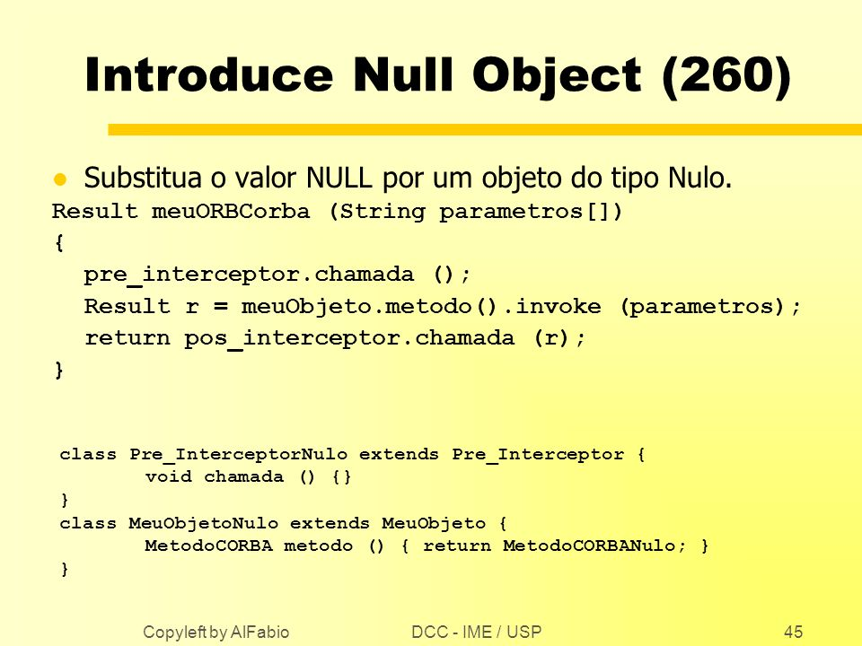 Introduce Null Object (260)