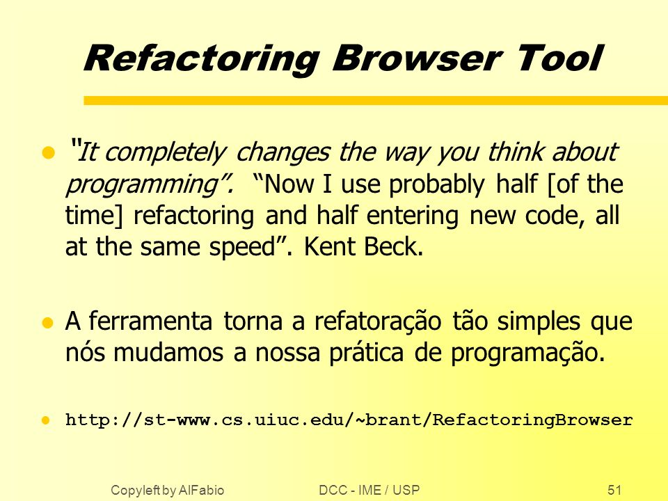 Refactoring Browser Tool