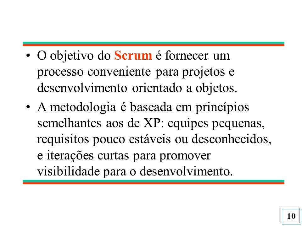 O objetivo do Scrum é fornecer um processo conveniente para projetos e desenvolvimento orientado a objetos.