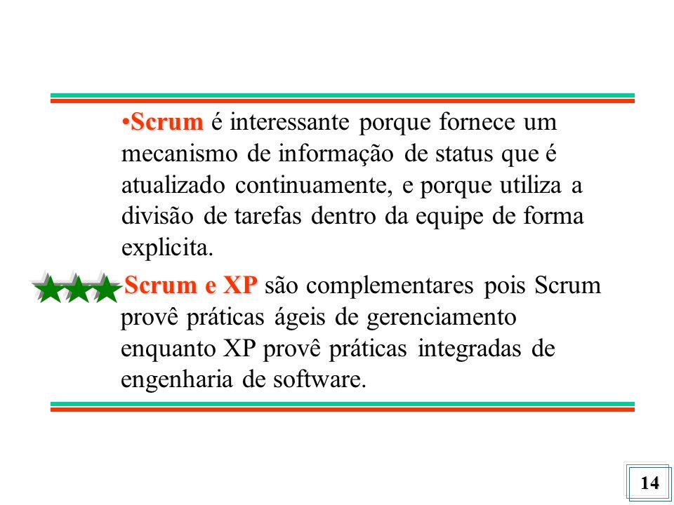 Scrum é interessante porque fornece um mecanismo de informação de status que é atualizado continuamente, e porque utiliza a divisão de tarefas dentro da equipe de forma explicita.