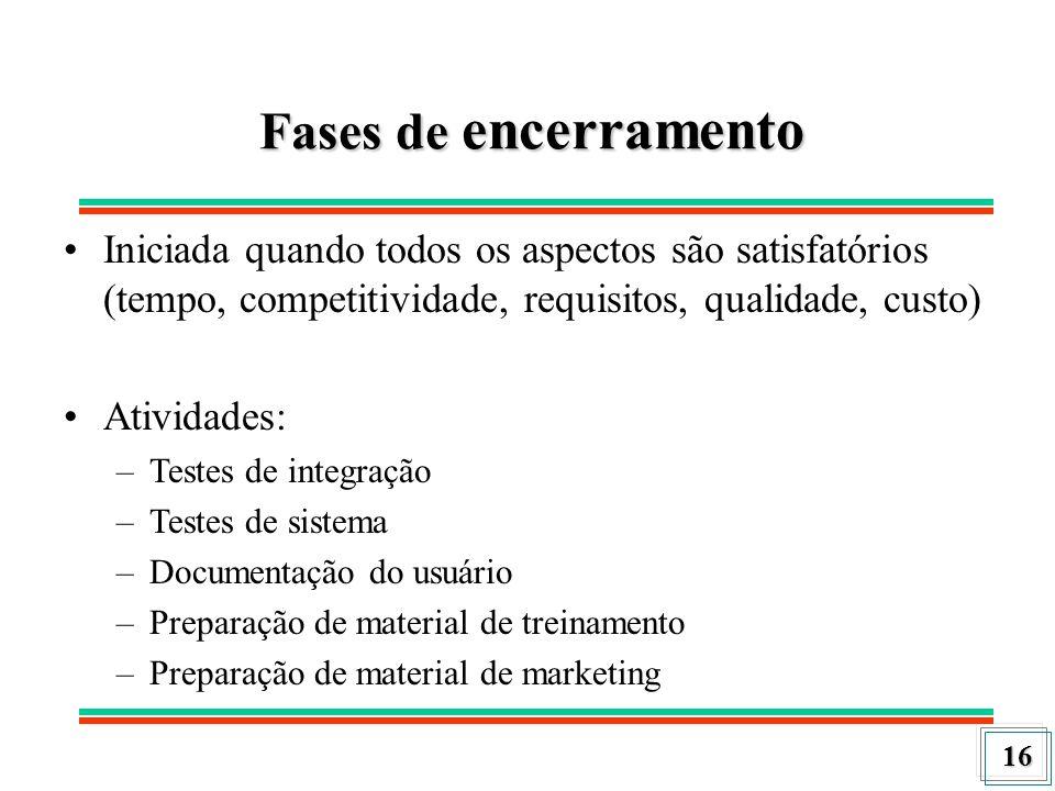 Fases de encerramento Iniciada quando todos os aspectos são satisfatórios (tempo, competitividade, requisitos, qualidade, custo)