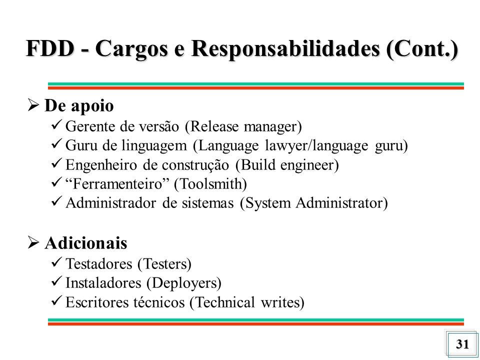 FDD - Cargos e Responsabilidades (Cont.)