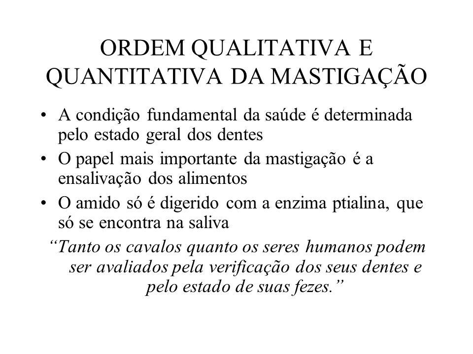 ORDEM QUALITATIVA E QUANTITATIVA DA MASTIGAÇÃO