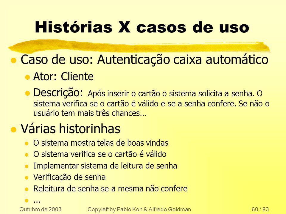 Histórias X casos de uso