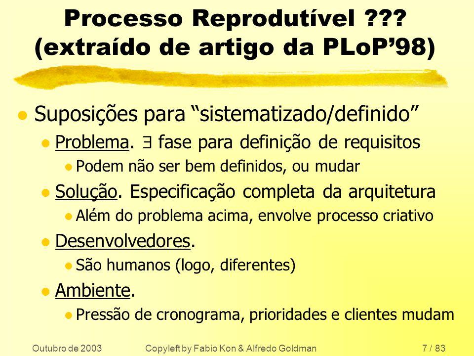 Processo Reprodutível (extraído de artigo da PLoP'98)