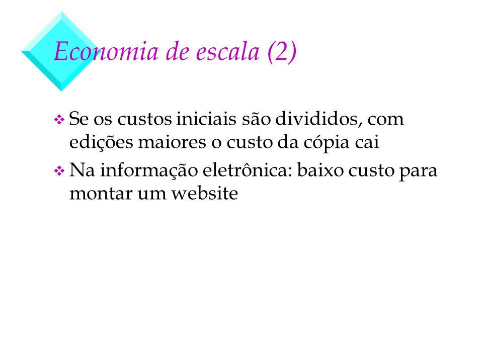 Economia de escala (2) Se os custos iniciais são divididos, com edições maiores o custo da cópia cai.
