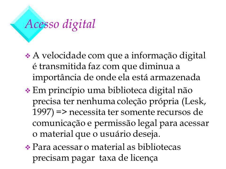 Acesso digital A velocidade com que a informação digital é transmitida faz com que diminua a importância de onde ela está armazenada.