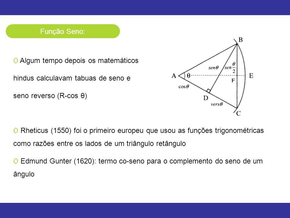 Função Seno: Algum tempo depois os matemáticos. hindus calculavam tabuas de seno e. seno reverso (R-cos θ)