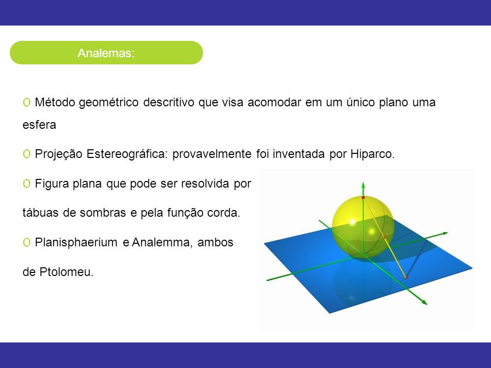 Analemas: Método geométrico descritivo que visa acomodar em um único plano uma esfera.