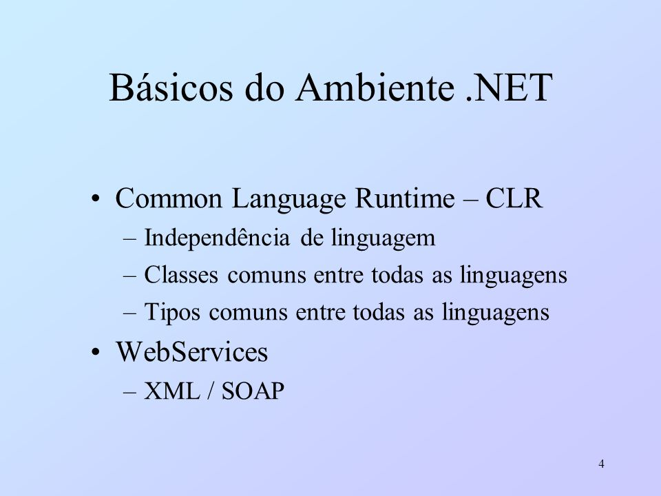 Básicos do Ambiente .NET