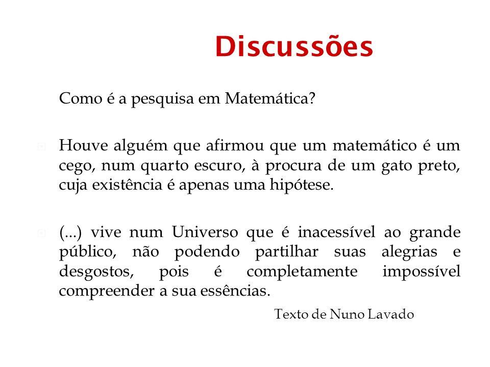 Discussões Como é a pesquisa em Matemática