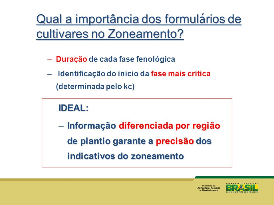 Qual a importância dos formulários de cultivares no Zoneamento
