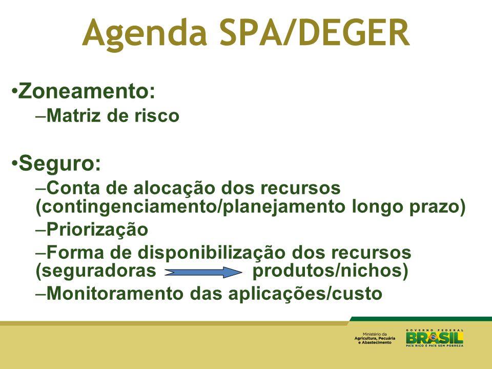 Agenda SPA/DEGER Zoneamento: Seguro: Matriz de risco