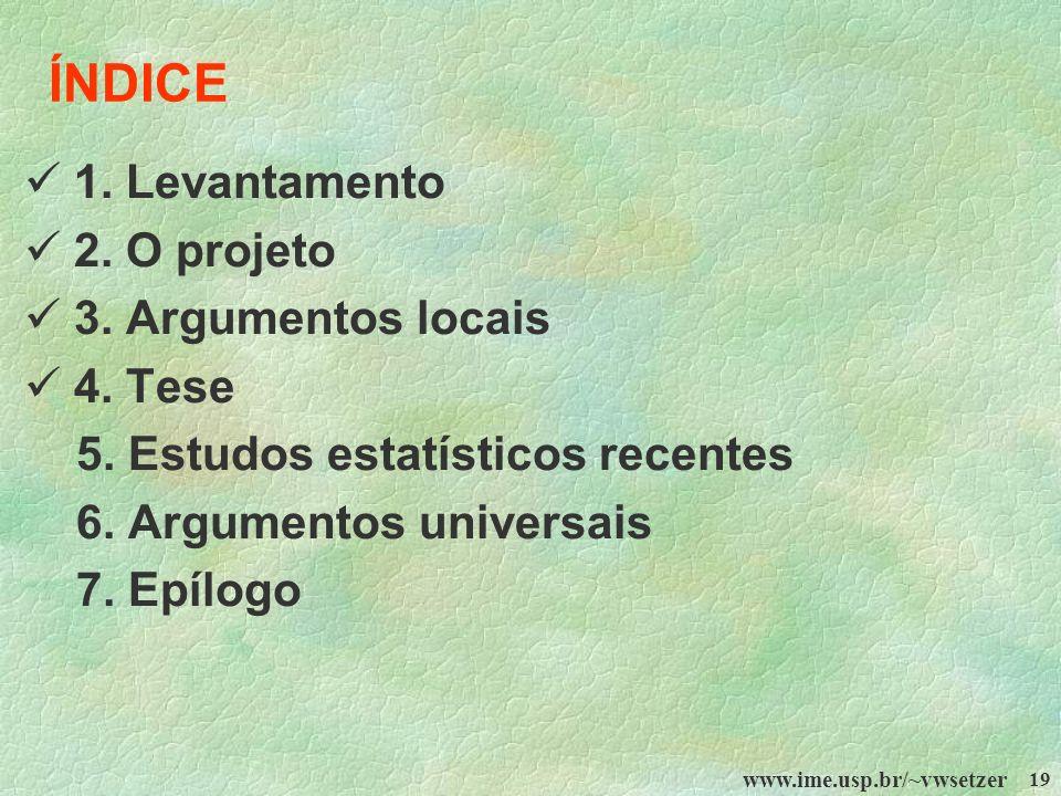 ÍNDICE  1. Levantamento  2. O projeto  3. Argumentos locais
