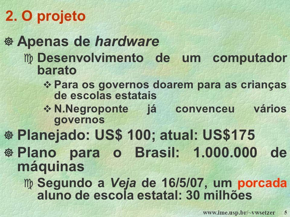 Planejado: US$ 100; atual: US$175