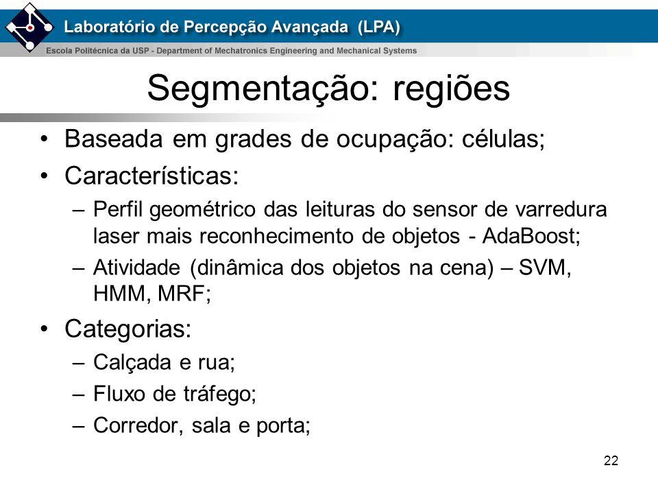 Segmentação: regiões Baseada em grades de ocupação: células;