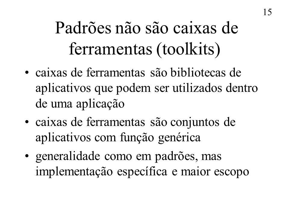 Padrões não são caixas de ferramentas (toolkits)