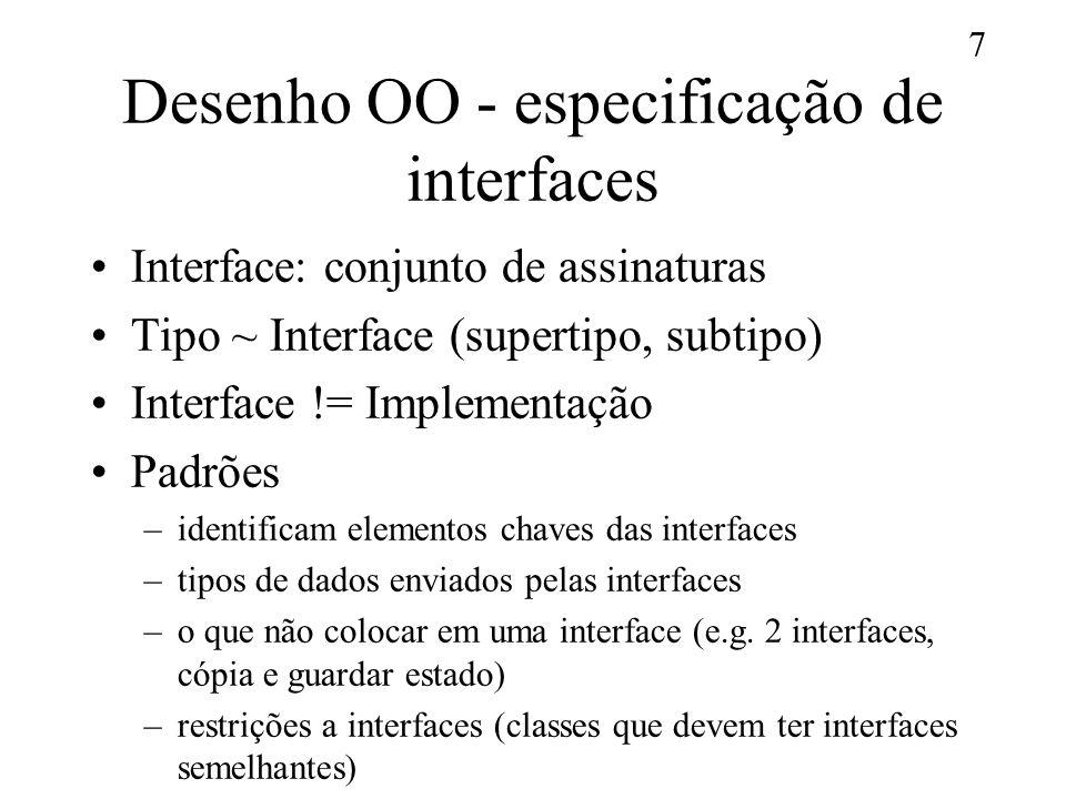 Desenho OO - especificação de interfaces