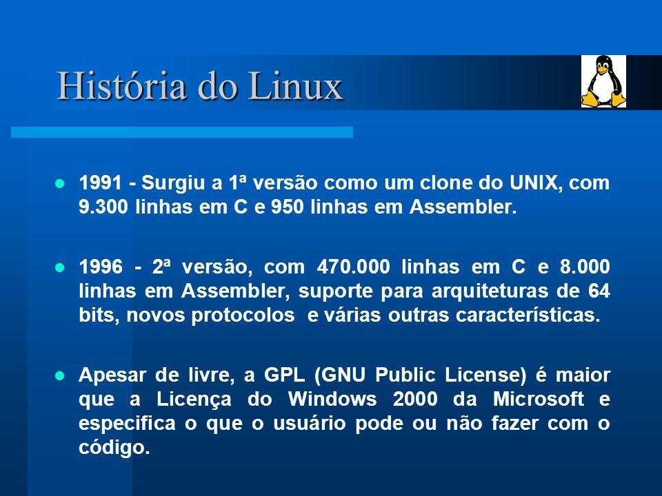 História do Linux 1991 - Surgiu a 1ª versão como um clone do UNIX, com 9.300 linhas em C e 950 linhas em Assembler.
