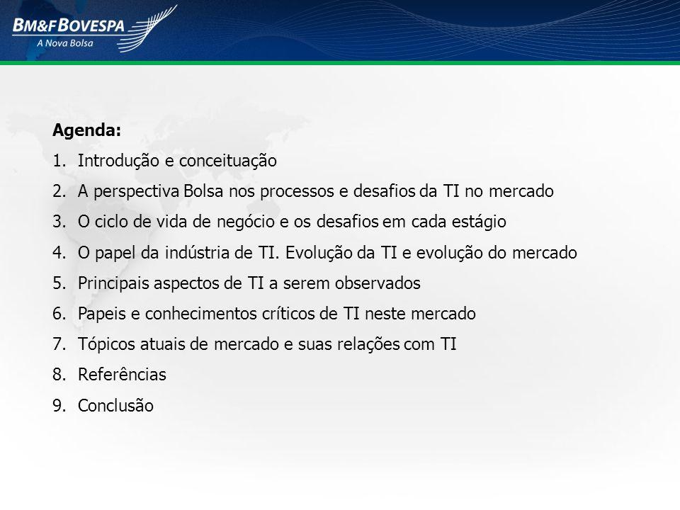 Agenda: Introdução e conceituação. A perspectiva Bolsa nos processos e desafios da TI no mercado.
