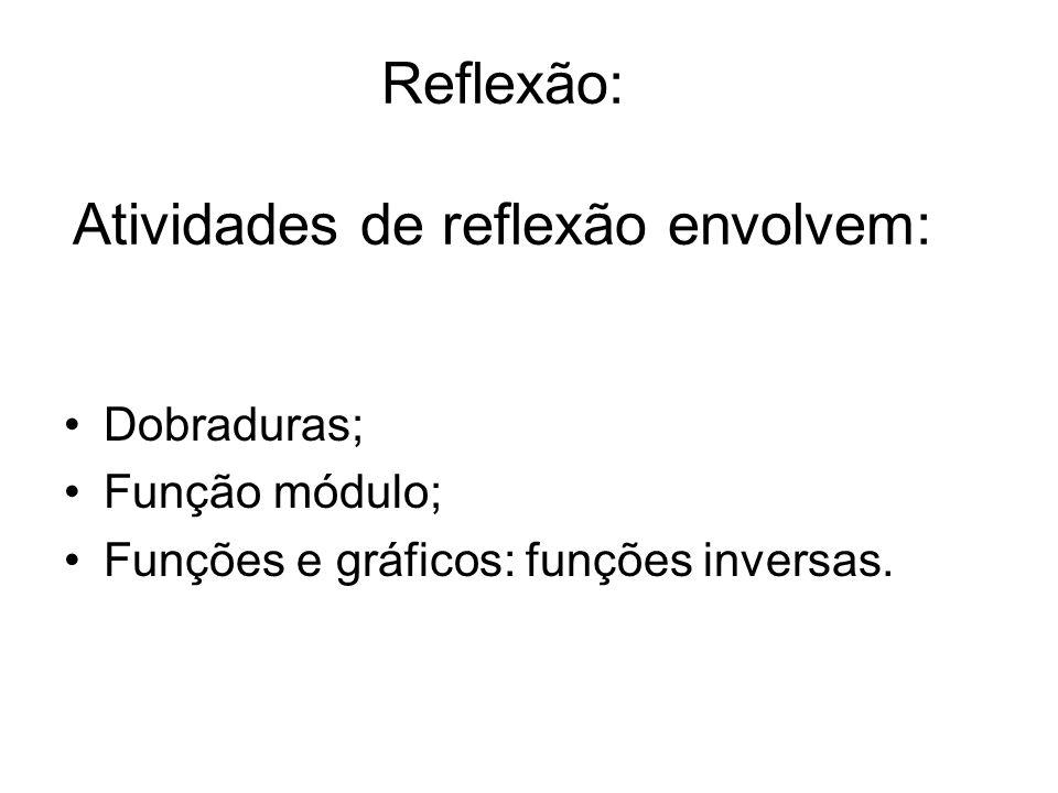 Reflexão: Atividades de reflexão envolvem: