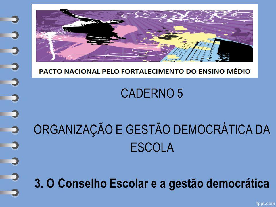 Subheading goes here CADERNO 5 ORGANIZAÇÃO E GESTÃO DEMOCRÁTICA DA ESCOLA 3.