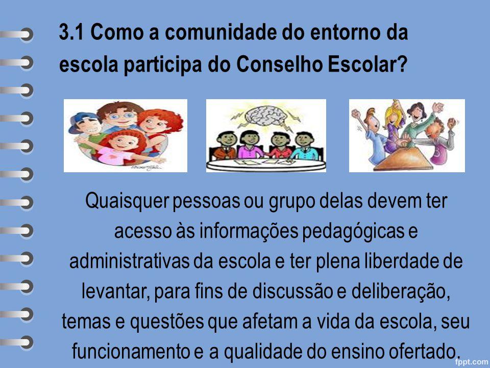 3.1 Como a comunidade do entorno da escola participa do Conselho Escolar